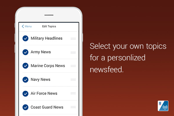 Select your own topics for a personalized news feed