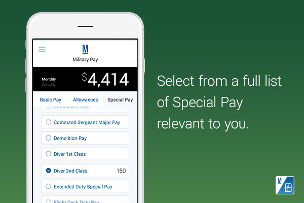 Select from a full list of Special Pay relevant to you