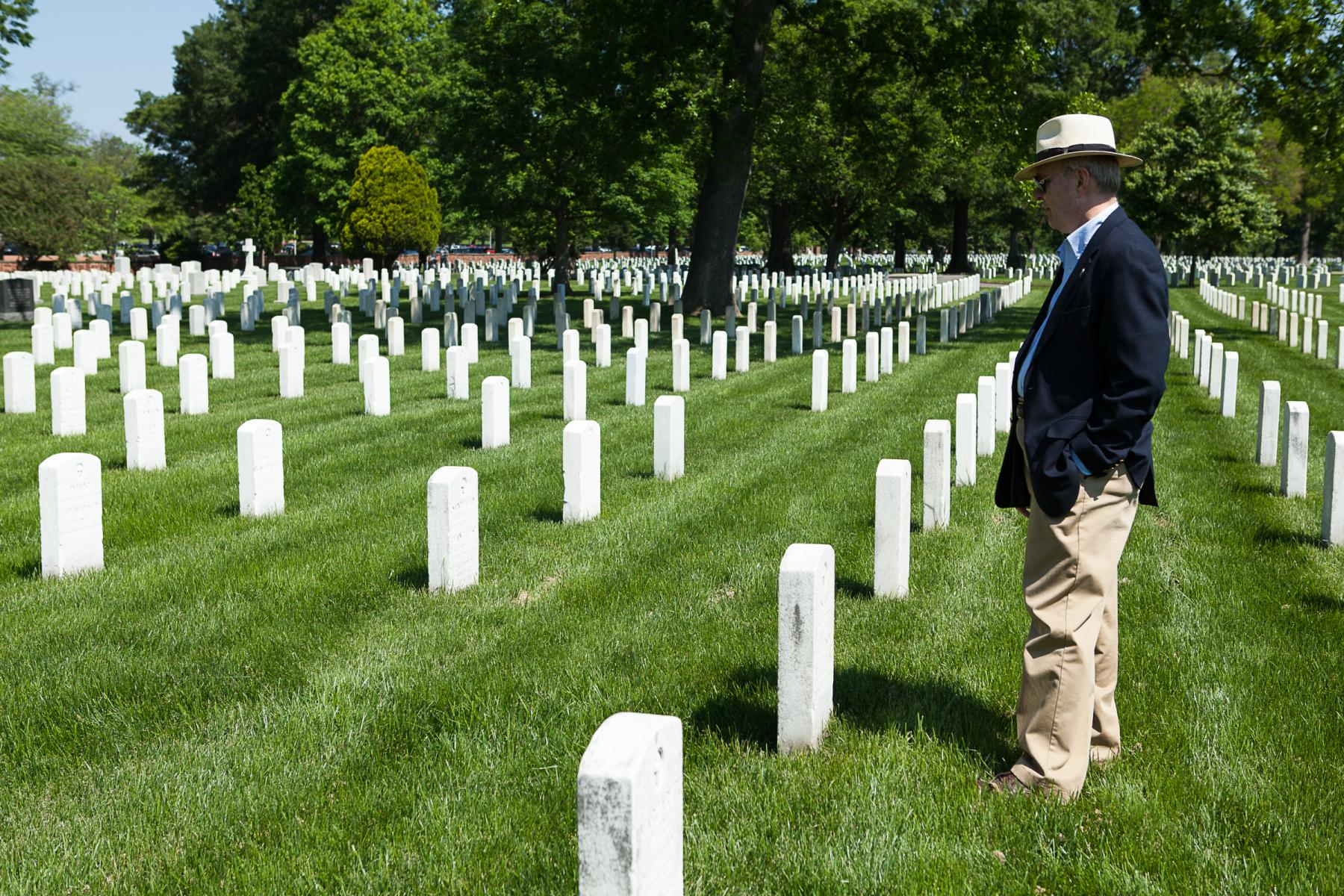 man in repose at arlington cemetery