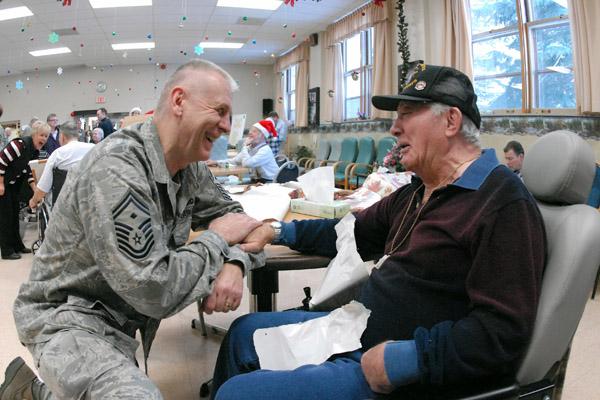 Senior Master Sgt. Paul Tangen visits marine.