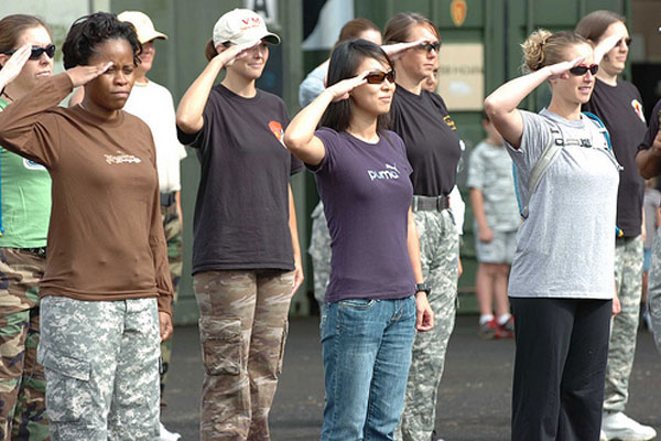 Military spouses saluting 600x400