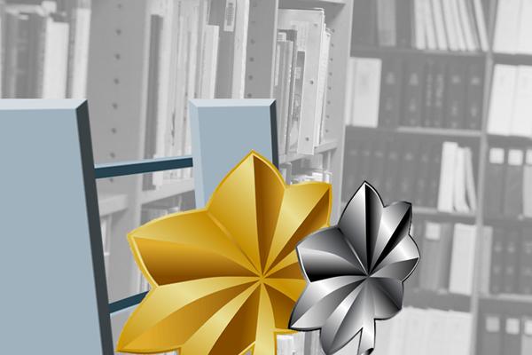 Rank insignia over books.
