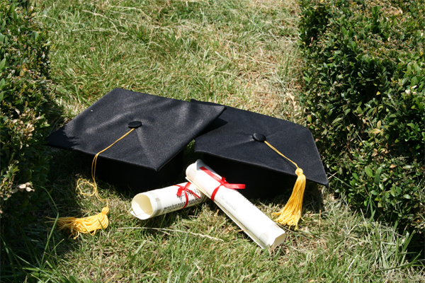diplomas in a field