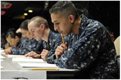 servicemembers taking sat exam