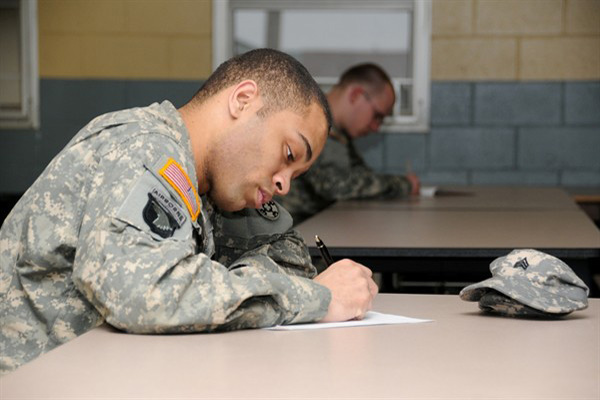 Soldier taking test.