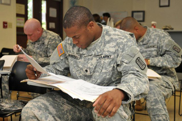 Soldier hunching during a test.