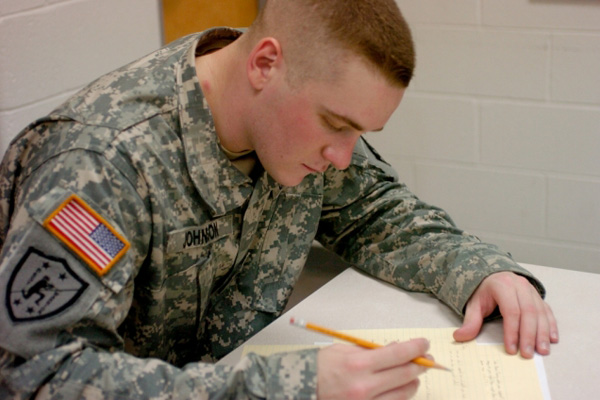 Servicemember pencil paper test.