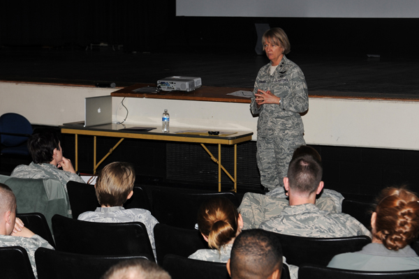 Maj. Gen. Faulkenberry giving a presentation.