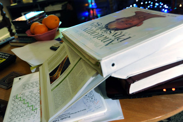 textbooks on desk