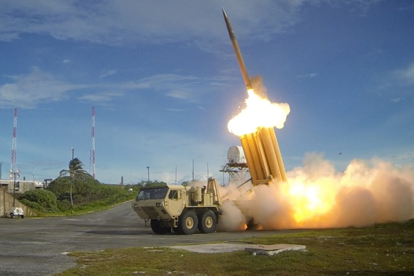 Two Terminal High Altitude Area Defense (THAAD) interceptors are launched during a successful intercept test on Sept. 10, 2013, at an unspecified location. (Defense Department photo)