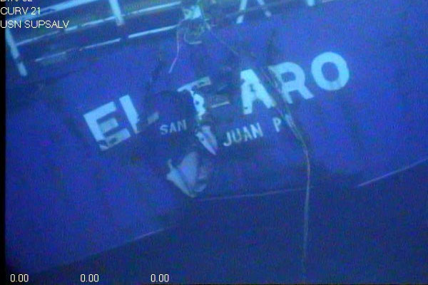 The cargo ship El Faro sank off the Bahamas on Oct. 1, 2015 after running head-on into Hurricane Joaquin; all 33 crewmembers died. (US Navy photo)