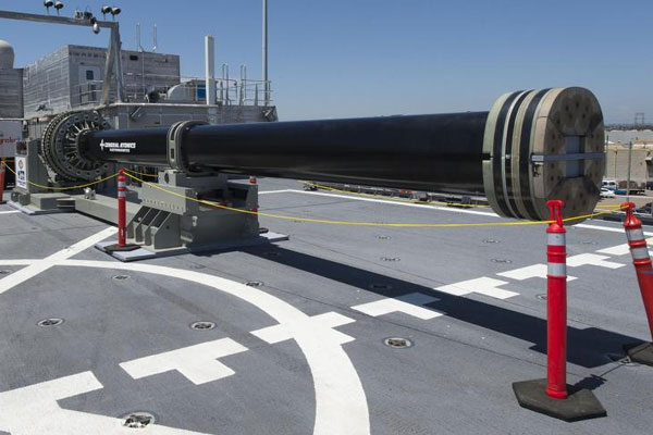 Prototype of an electromagnetic railgun on board the USS Millinocket in 2014. The first operational version may be used on the Navy's first Zumwalt-class destroyer. (Navy/Kristopher Kirsop)