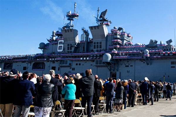 The amphibious assault ship USS America is commissioned in October 2014 at San Francisco. The Marine Corps plans to use a sister ship under construction, the Tripoli, to support 90-day patrols around Australia. (DoD photo)