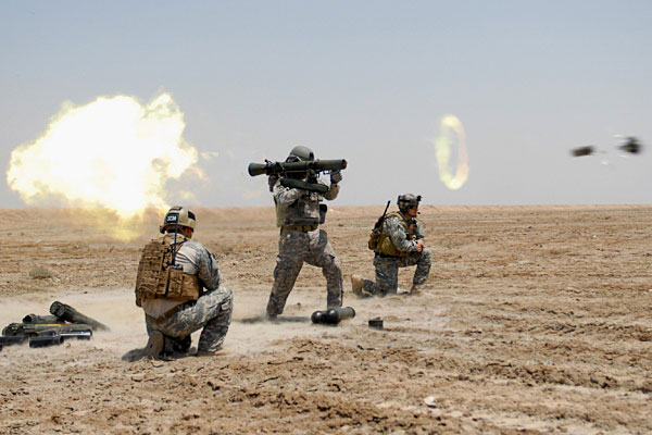 In May 2009, U.S. Army Special Forces soldiers train with the Carl Gustaf recoilless rifle in Basra, Iraq. (Wikipedia photo)