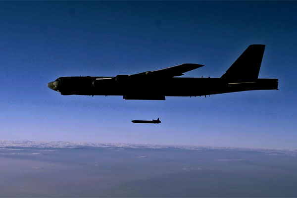 An unarmed AGM-86B Air-Launched Cruise Missile is released from a B-52H Stratofortress over the Utah Test and Training Range. The Air Force wants new generations of nuclear-capable cruise missiles and land-based ICBMs. (US Air Force/Roidan Carlson)