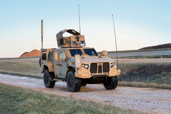 The Army's Joint Light Tactical Vehicle made by Oshkosh Corp. is shown here with an objective gunners protective kit armed with an .50-caliber M2 machine gun. (Photo courtesy Oshkosh)