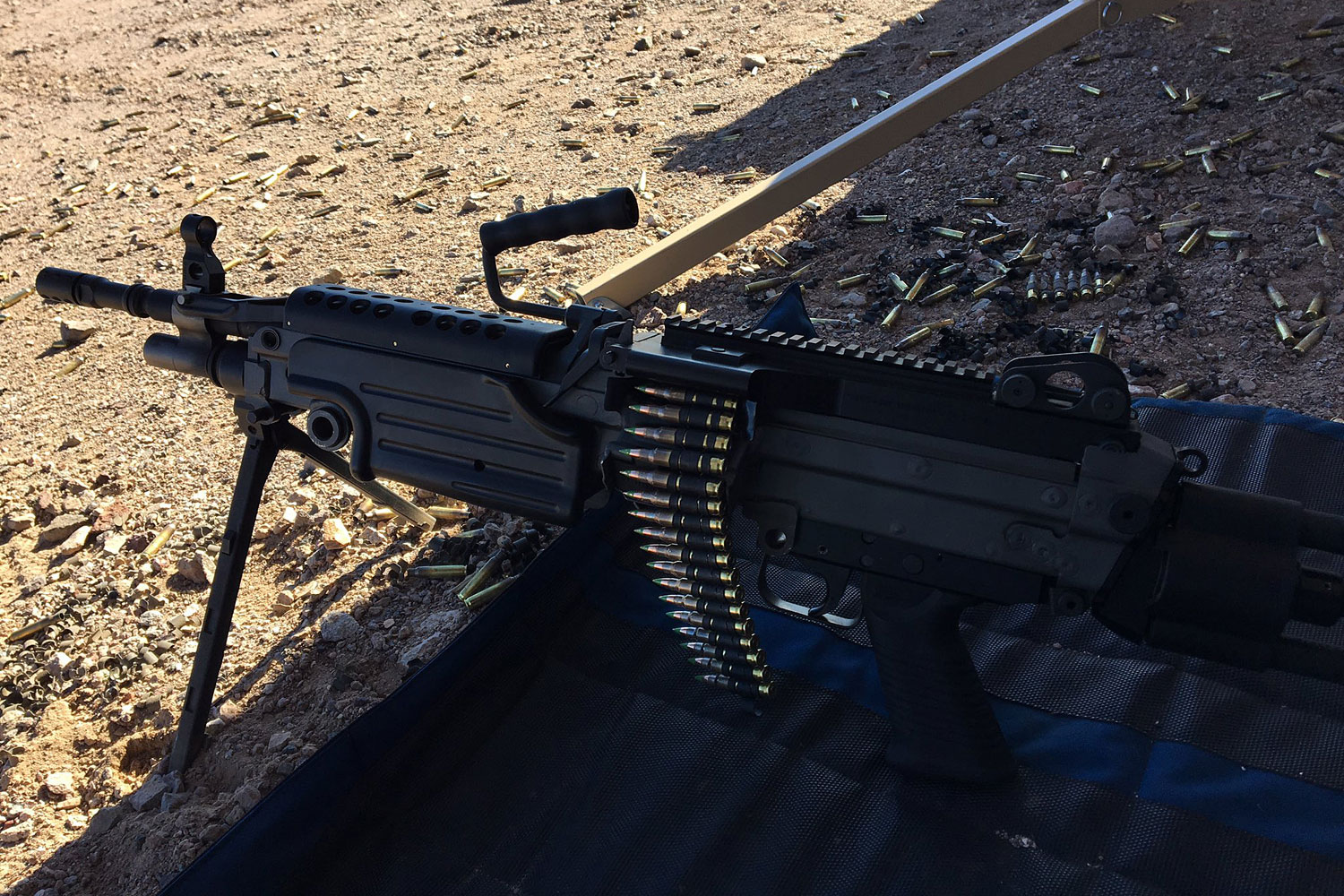 FN, the maker of the U.S. military's M249 squad automatic weapon, introduced the M249S Para, Jan. 16, 2017, during range day outside Las Vegas at SHOT Show 2017. Military.com photo
