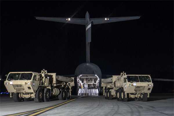 The first elements of the THAAD system arrive in South Korea on March 6. (US Forces Korea photo)