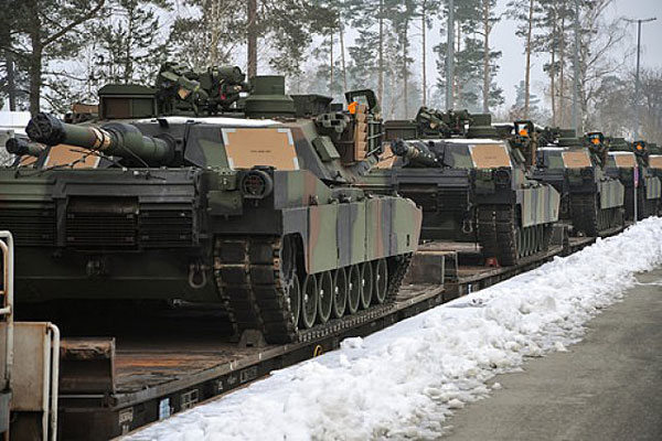 These U.S. Army M1A2 Abrams tanks are part of the European Activity Set, a combined-arms battalion-sized set of vehicles and equipment pre-positioned at Germany's Grafenwoehr Training Area. Markus Ruachenberger/U.S. Army