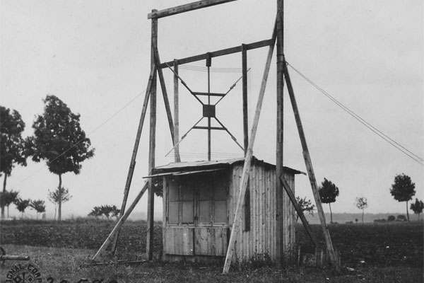 This photograph shows Aero Gonio Station Number 82 at Royaumeix, 14 June 1918. Aero gonio, or airplane compass, stations took bearings on hostile aircraft. (Photo: National Archives)