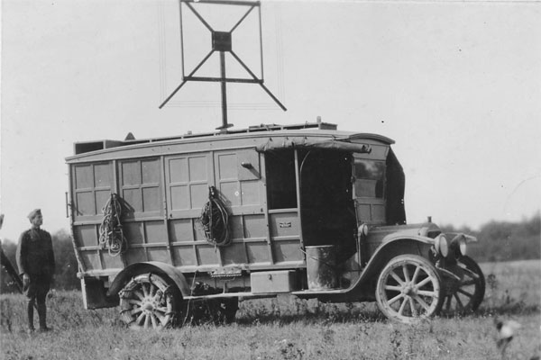 "In Sept. 1918, the AEF began mounting equipment on vehicles (referred to them as ""tractors"") to provide the mobility required for a war of movement. This photograph shows a radio goniometric tractor near Verdun, 26 Sept 1918. (Photo: National Archives)"