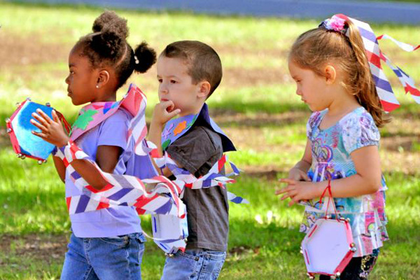 Kids celebrating the military