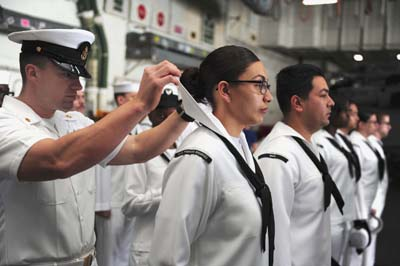 Navy uniform inspection, neckerchief tie