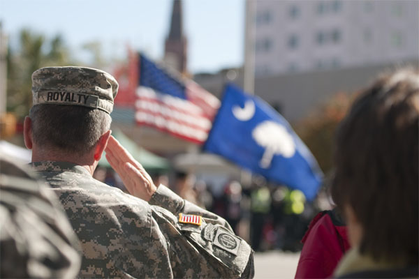 Soldier salutes on Veterans Day