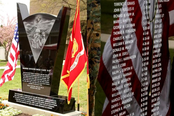 The 6/67 Memorial at Marine Corps Base Quantico in Virginia commemorates The Basic School's sixth graduating class, which suffered more than 250 casualties, including 43 officers killed in Vietnam. (US Marine Corps photo)