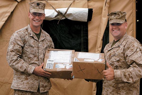 Marines receiving packages.