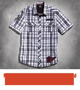 Harley Davidson Men's Slim-Fit #1 Short-Sleeve Plaid Shirt - 99055-11VM