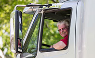 Roehl Transport trucker in truck cab