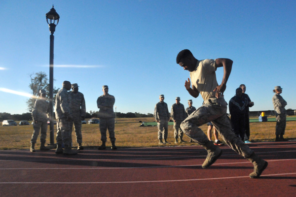 Sprinting on the track.
