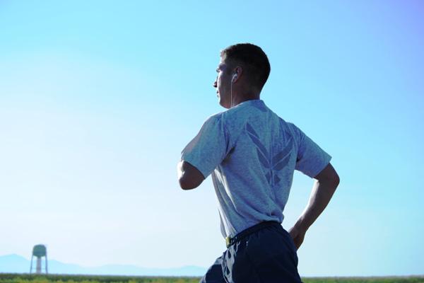 Airman running.