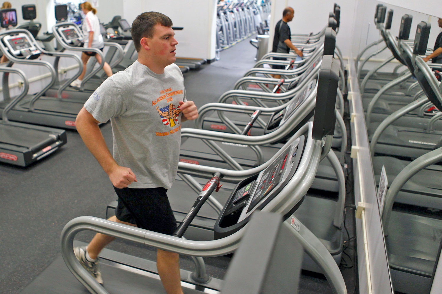 Profile picture for fitness on request - An Airman Finishes Up His Workout In The Treadmill Room At The Rosburg Fitness Center