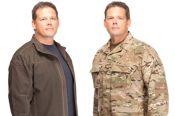 Man transitioning out of military in both civilian clothing and a military uniform