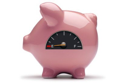 savings piggy bank on empty