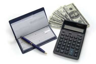 calculator and checkbook