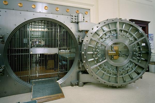 open door to bank vault