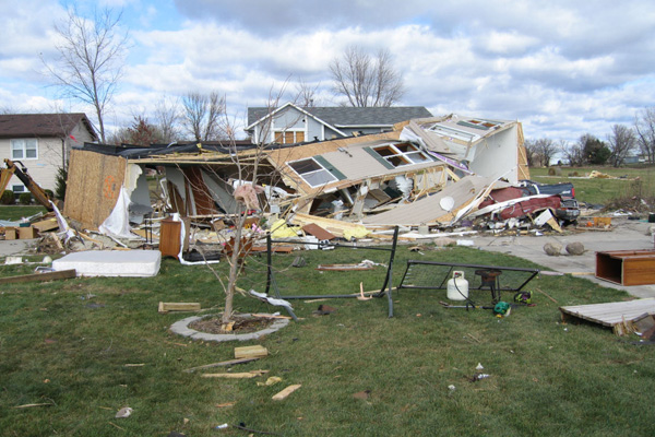A house destroyed after a storm.