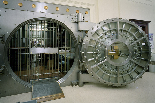 A large bank vault.
