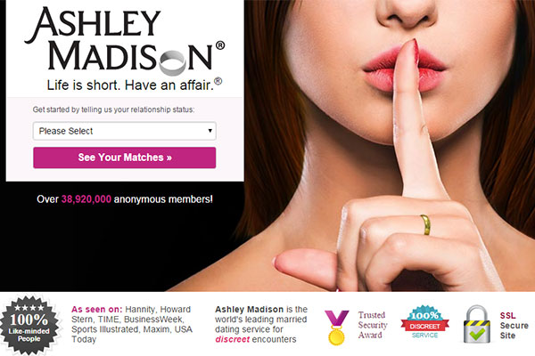 "A screenshot of the AshleyMadison.com website shows its motto – ""Life Is Short, Have an Affair."""