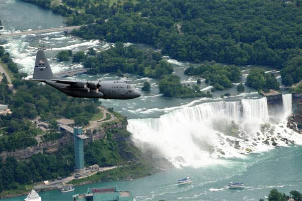 Niagara Falls Air Force Reserve and National Guard C-130?s exercise flying over Niagara Falls NY, July 15, 2009. (U.S. Air Force photo/ Staff Sgt. Joseph McKee)