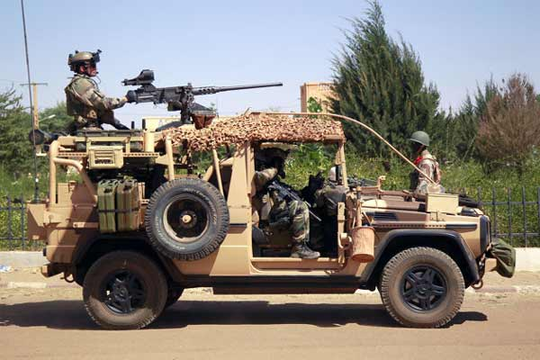 French special forces drive through the city of Gao, Northern Mali, Wednesday Jan. 30, 2013.