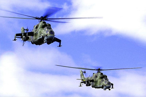 Mi-24 and Mi-8 helicopter crews with the 18th Detached Helicopter Unit of the Ukrainian Armed Forces execute training flights and practice combat tasks.