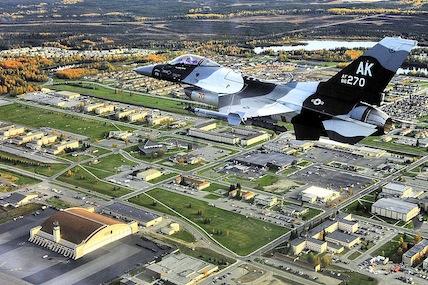 The 18th aggressor squadron flies past eielson air force base alaska