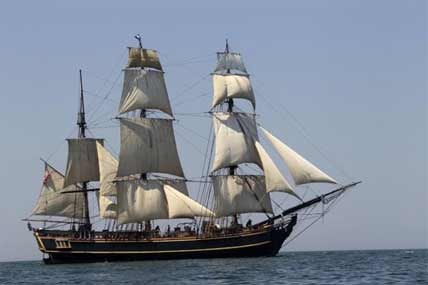 The tall ship HMS Bounty sails on Lake Erie off Cleveland.