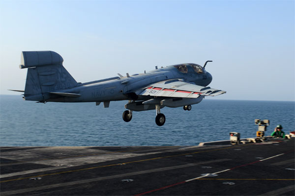 EA-6B Prowler on USS Stennis 600x400