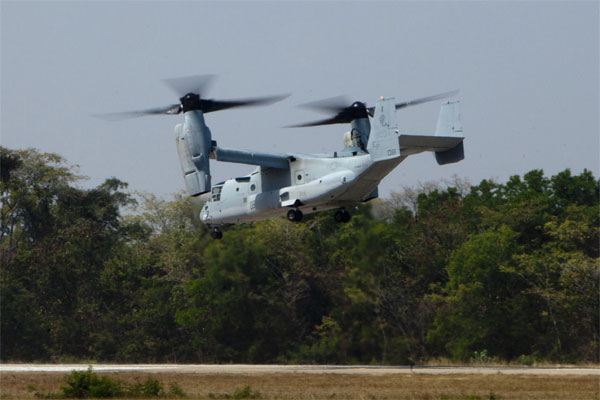 MV-22B Osprey prepares to land 600x400