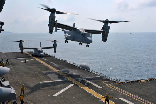 MV-22 Osprey takes off from USS Bonhomme Richard 600x400